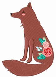 Flower Fox embroidery design