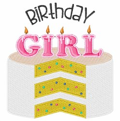 Birthday Girl Cake embroidery design