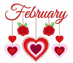 February Mobile embroidery design