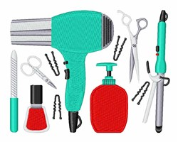 Cosmetology Tools embroidery design