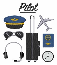 Airline Pilot embroidery design
