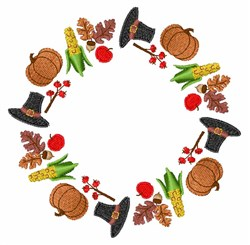 Thanksgiving Wreath embroidery design