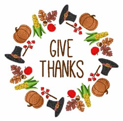 Give Thanks Wreath embroidery design