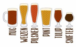 Types Of Beer embroidery design