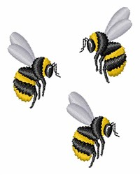 Three Bees embroidery design