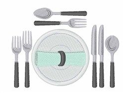 Dinner Utensils embroidery design
