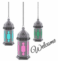 Welcome Lanterns embroidery design