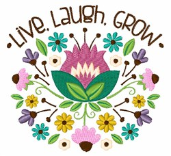 Live Laugh Grow Bouquet embroidery design