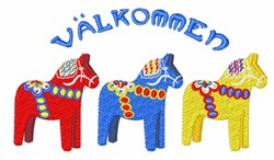 Dala Valkommen Horses embroidery design