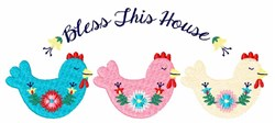 Bless Chicken Border embroidery design