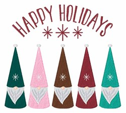 Happy Holiday Gnomes embroidery design