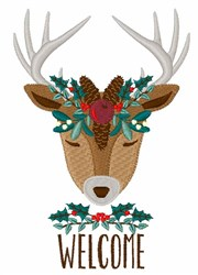 Welcome Reindeer embroidery design