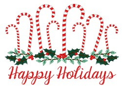 Happy Holiday Canes embroidery design