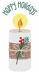 Happy Holidays Candle embroidery design
