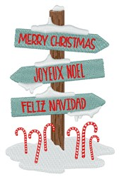 Holiday Sign Post embroidery design