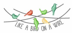 Bird On Wire embroidery design
