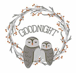 Goodnight Owl embroidery design