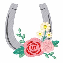 Floral Horse Shoe embroidery design