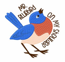 Mr Bluebird embroidery design