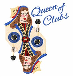 Queen Of Clubs embroidery design