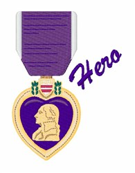 Purple Heart Hero embroidery design