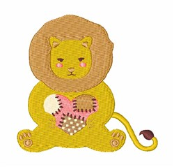 Patchwork Heart Lion embroidery design