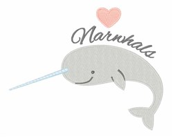 Narwhals embroidery design