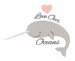 Love Our Oceans embroidery design