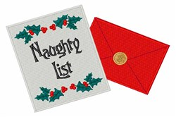 Naughty List embroidery design