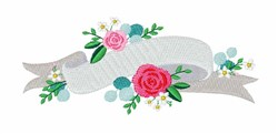 Rose Banner embroidery design