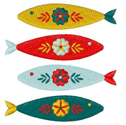 Folk Art Swedish Fish embroidery design