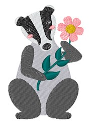 Badger With Flower embroidery design