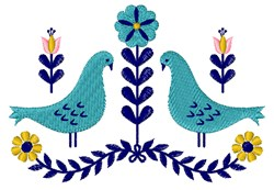 Folk Art Birds embroidery design
