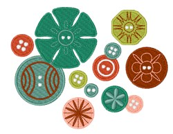 Vintage Fashion Buttons embroidery design