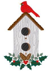 Cardinal Birdhouse embroidery design