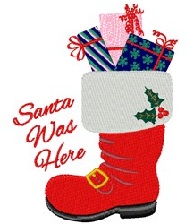 Santa Was Here embroidery design