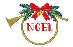 Noel French Horn embroidery design