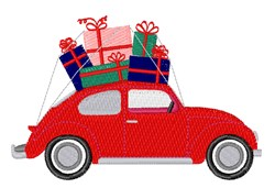 Christmas Beetle Car embroidery design