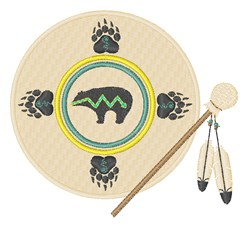 Bear Paw Drum embroidery design
