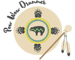 Pow Wow Drummer embroidery design