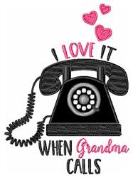 I Love When Grandma Calls embroidery design