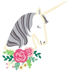 Unicorn & Roses embroidery design