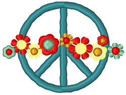 Ombre Peace Symbol embroidery design