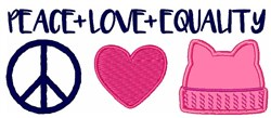 Peace Love Equality embroidery design