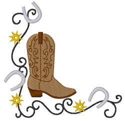 Cowboy Boot Corner embroidery design