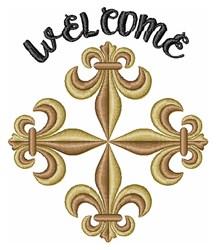 Fleur-de-lis Welcome embroidery design