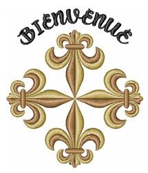 Fleur-de-lis Bienvenue embroidery design