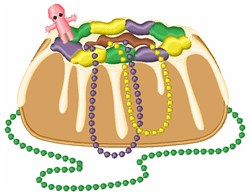 Mardi Gras King Cake embroidery design