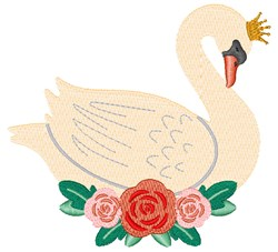 Floral Swan embroidery design
