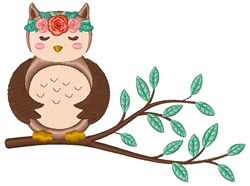 Sleeping Owl embroidery design